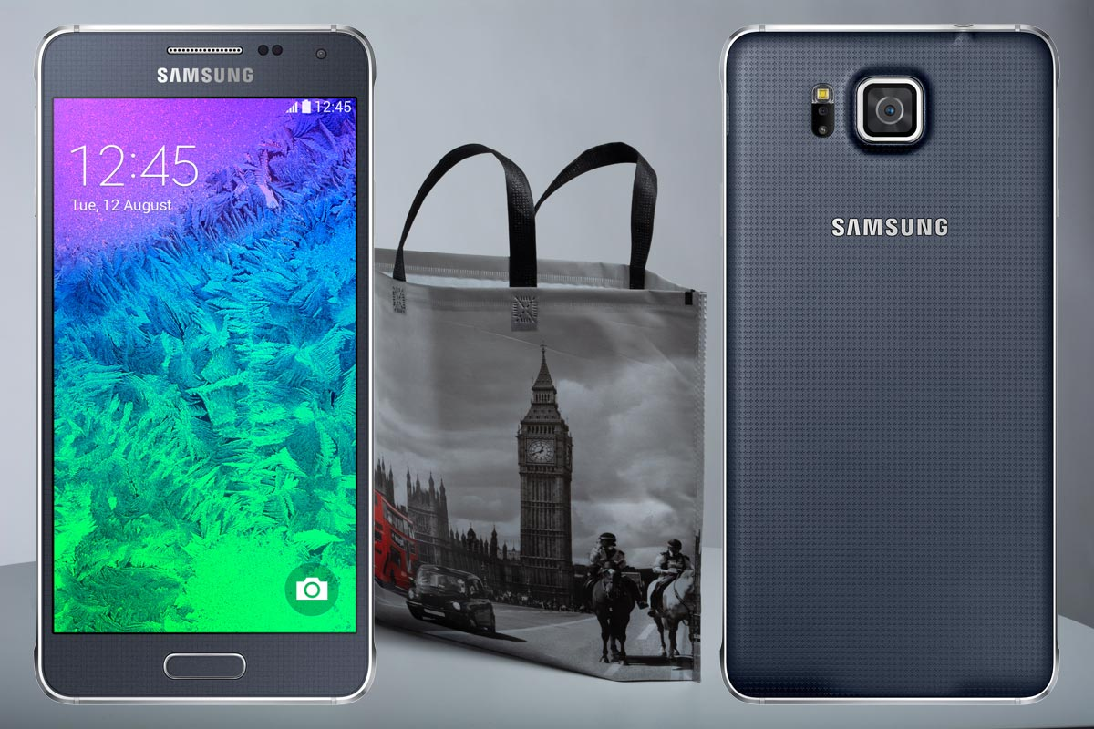 Samsung Galaxy Alpha with Grey Bag Background