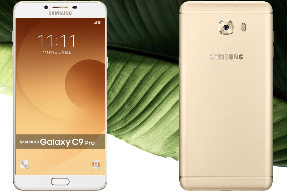 Samsung Galaxy C9 Pro With Leaf Background
