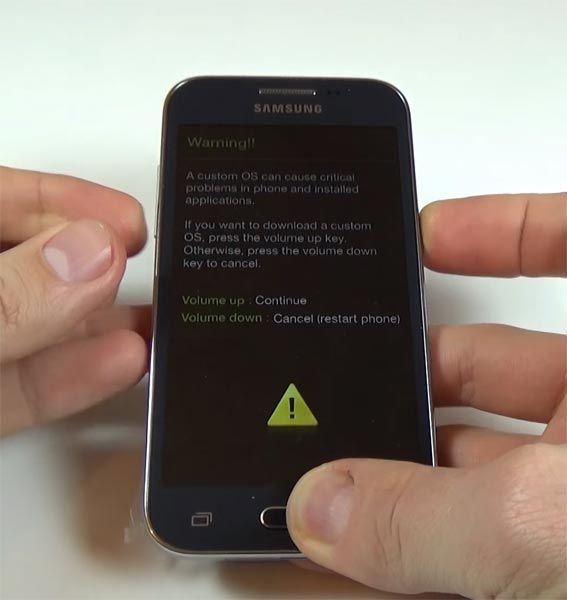 Samsung Galaxy Core Prime Download Mode Warning Screen