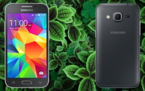 Samsung Galaxy Core Prime with Leaf Background
