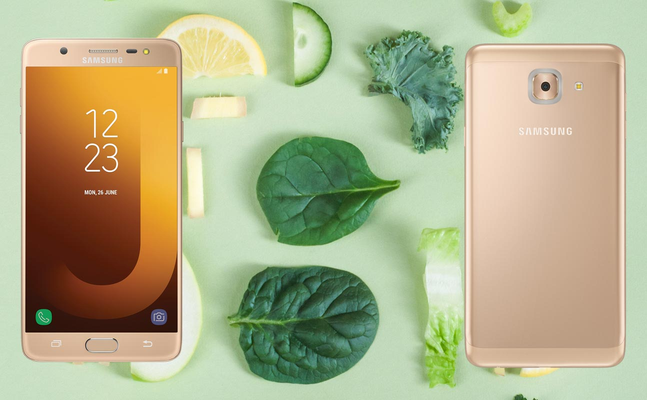 Samsung Galaxy J7 Max with Vegetable Piece Background