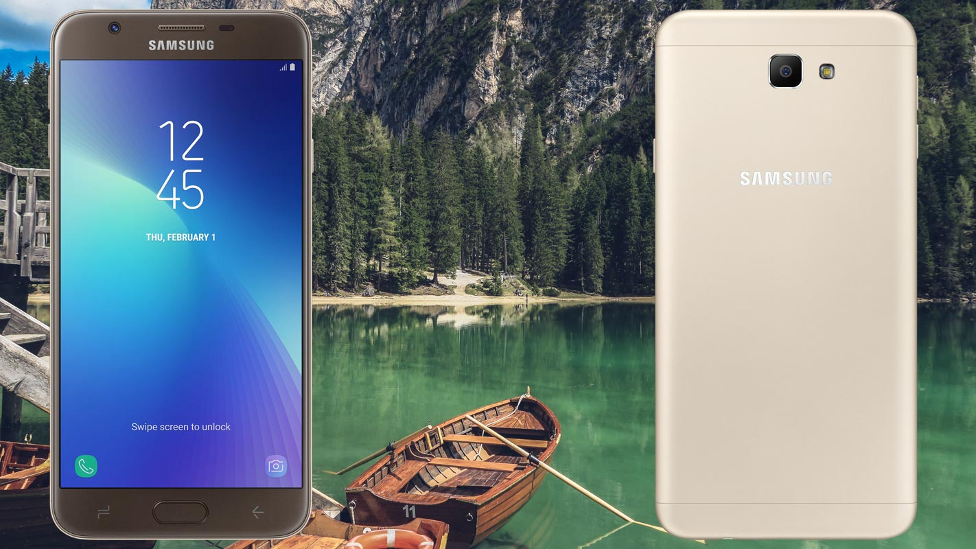 Samsung Galaxy J7 Prime 2 with Lake and Boat Background