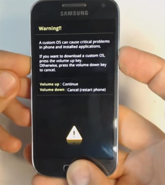 Samsung Galaxy S4 Mini Download Mode Warning Message