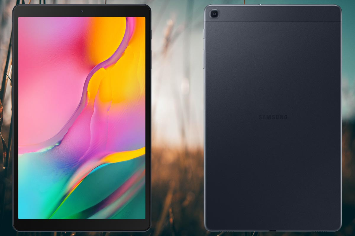 Samsung Galaxy Tab A 10 2019 with Field Background