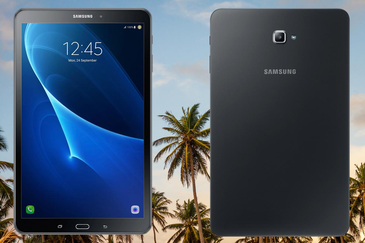 Samsung Galaxy Tab A 10 inch 2016 with Coconut Trees Background