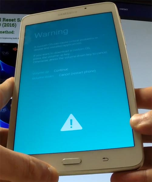 Samsung Galaxy Tab A 7.0 2016 Download Mode Warning Screen