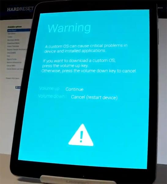 Samsung Galaxy Tab S3 Download Mode Warning Screen