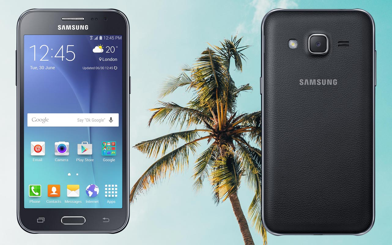 Samsung J2 with Palm Tree Background