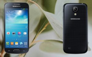 Samsung S4 Mini with Leaf Background