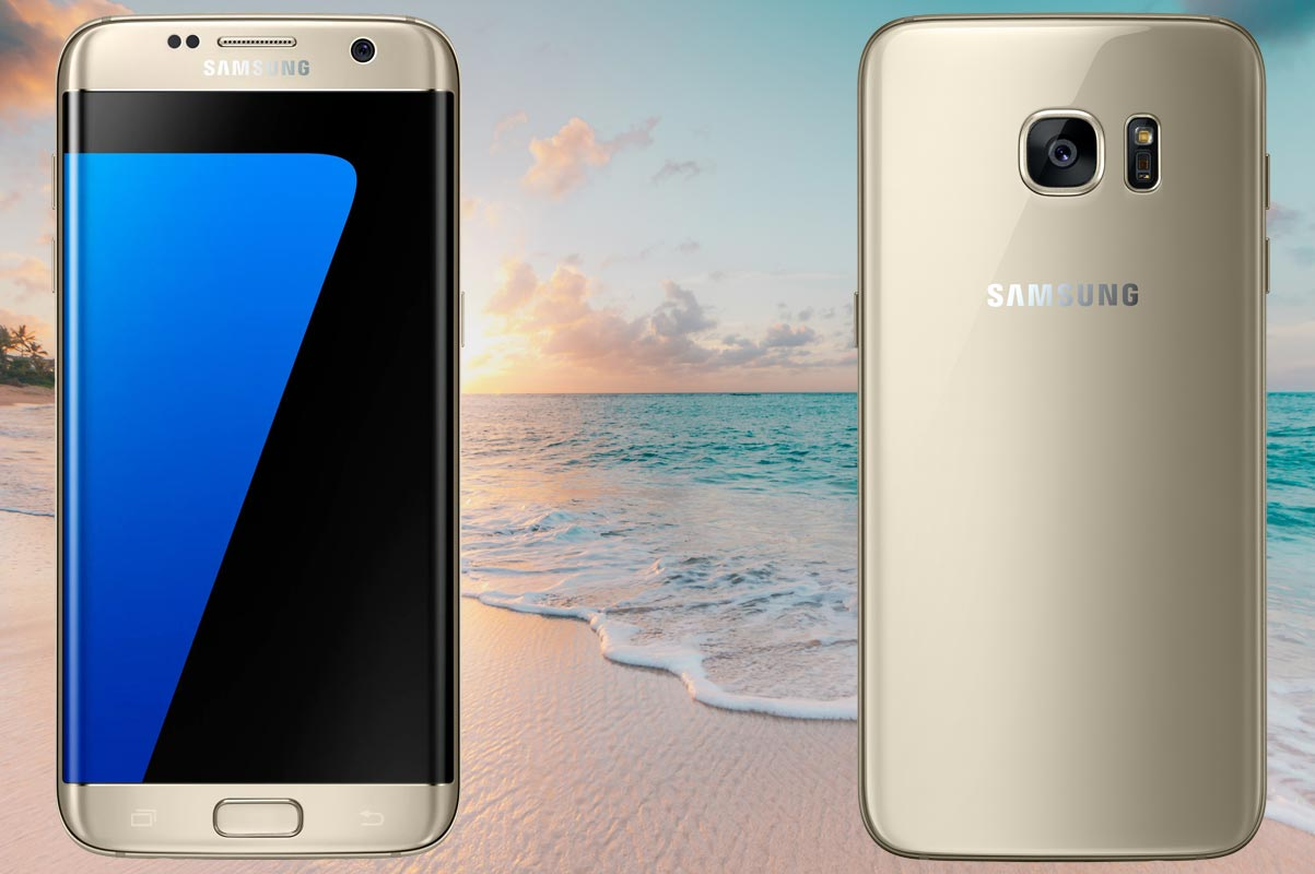 Samsung S7 Edge With Beach Background