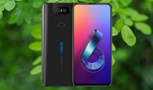 Asus ZenFone 6 with Green Leaf Plant Background