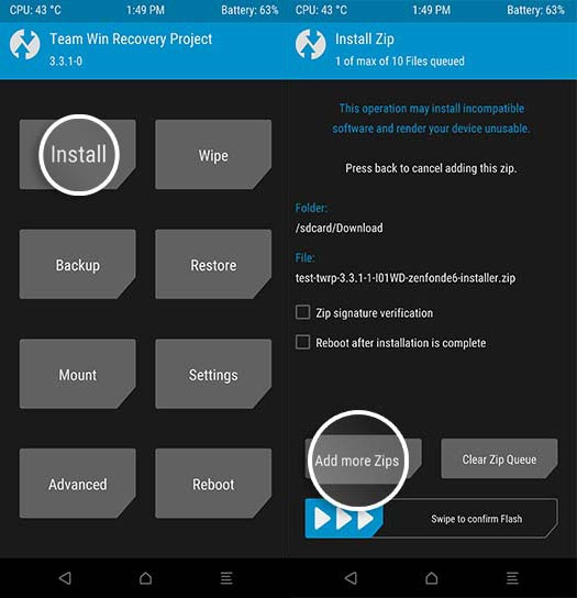 Asus Zenfone 6 Install Files using TWRP
