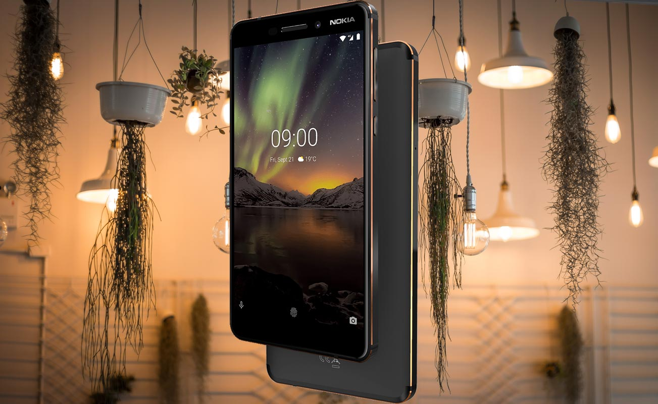 Nokia 6 1 with Hanging Lamps Background
