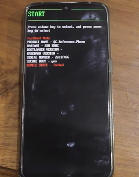 Oppo Realme 2 Pro Fastboot Warning Screen