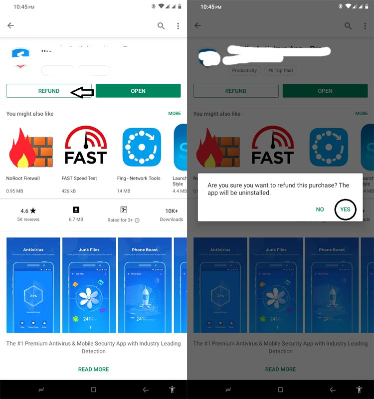 Request Refund in the Google Playstore App