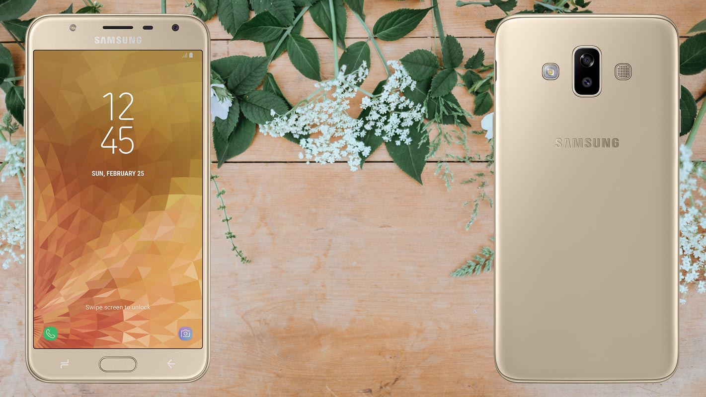 Samsung Galaxy J7 Duo with Flower on Table Background