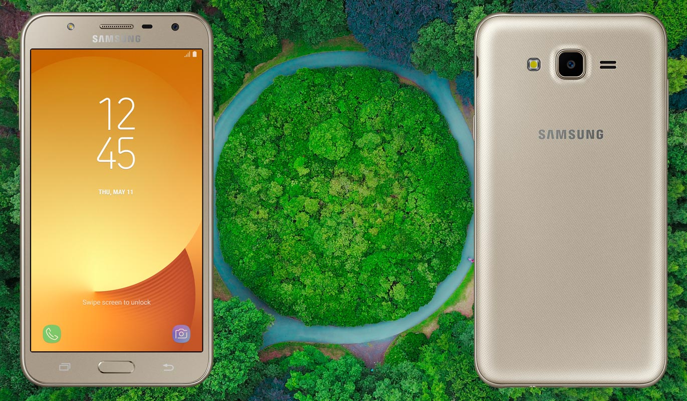 Samsung Galaxy J7 Nxt Core with Forest Background