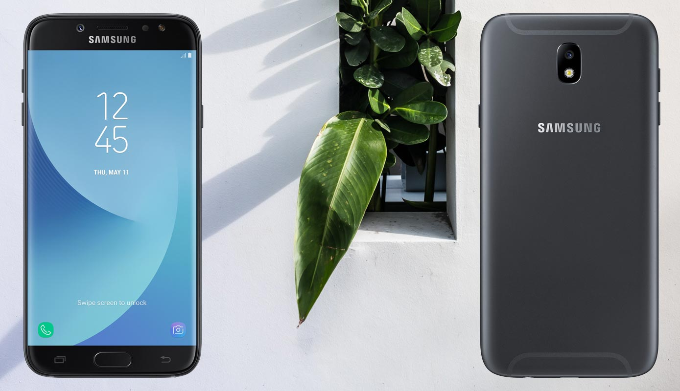 Samsung Galaxy J7 Pro with Plant in Wall Background