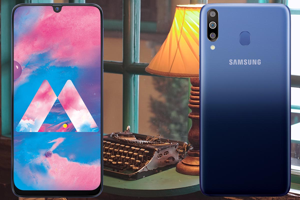 Samsung Galaxy M30 with Table Lamp Background