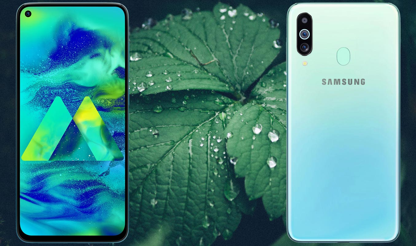 Samsung Galaxy M40 with Leaf Background