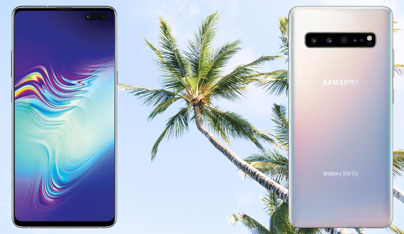 Samsung Galaxy S10 5G with Coconut Tree Background