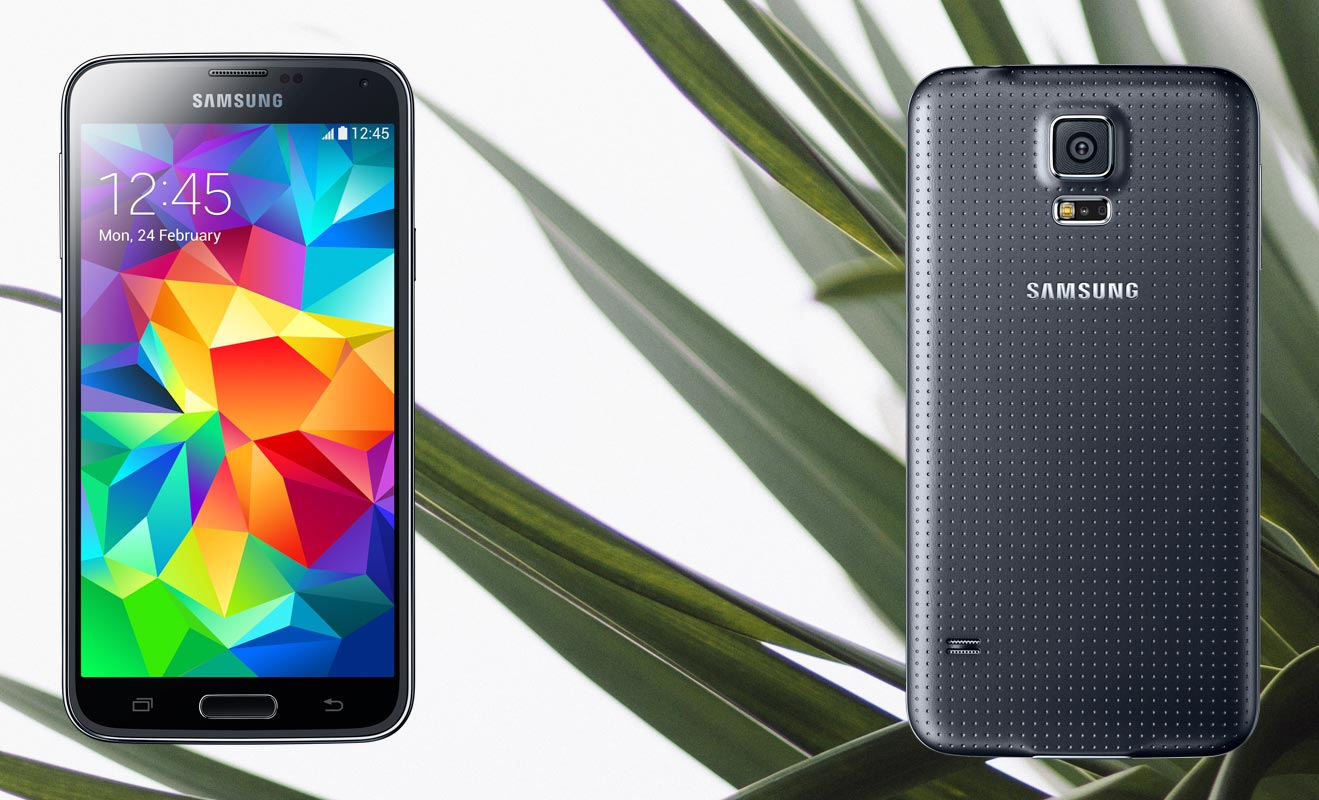 Samsung Galaxy S5 LTE-A with Leaf Background
