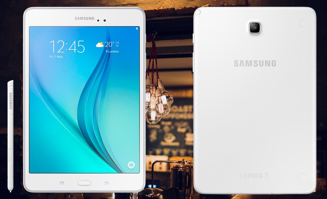 Samsung Galaxy Tab A 8 with Night Lamp Background
