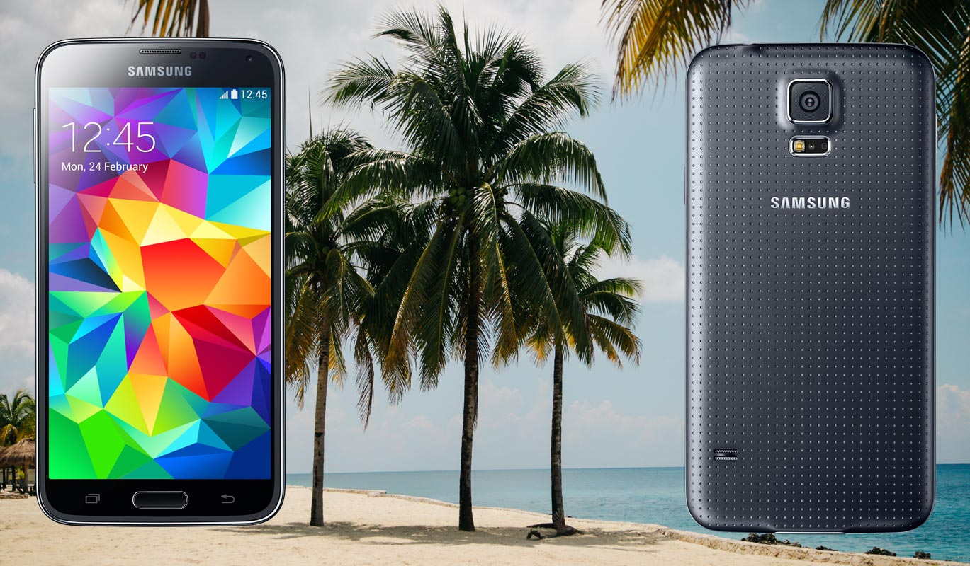 Samsung S5 Plus with Beach Palm Tree Background