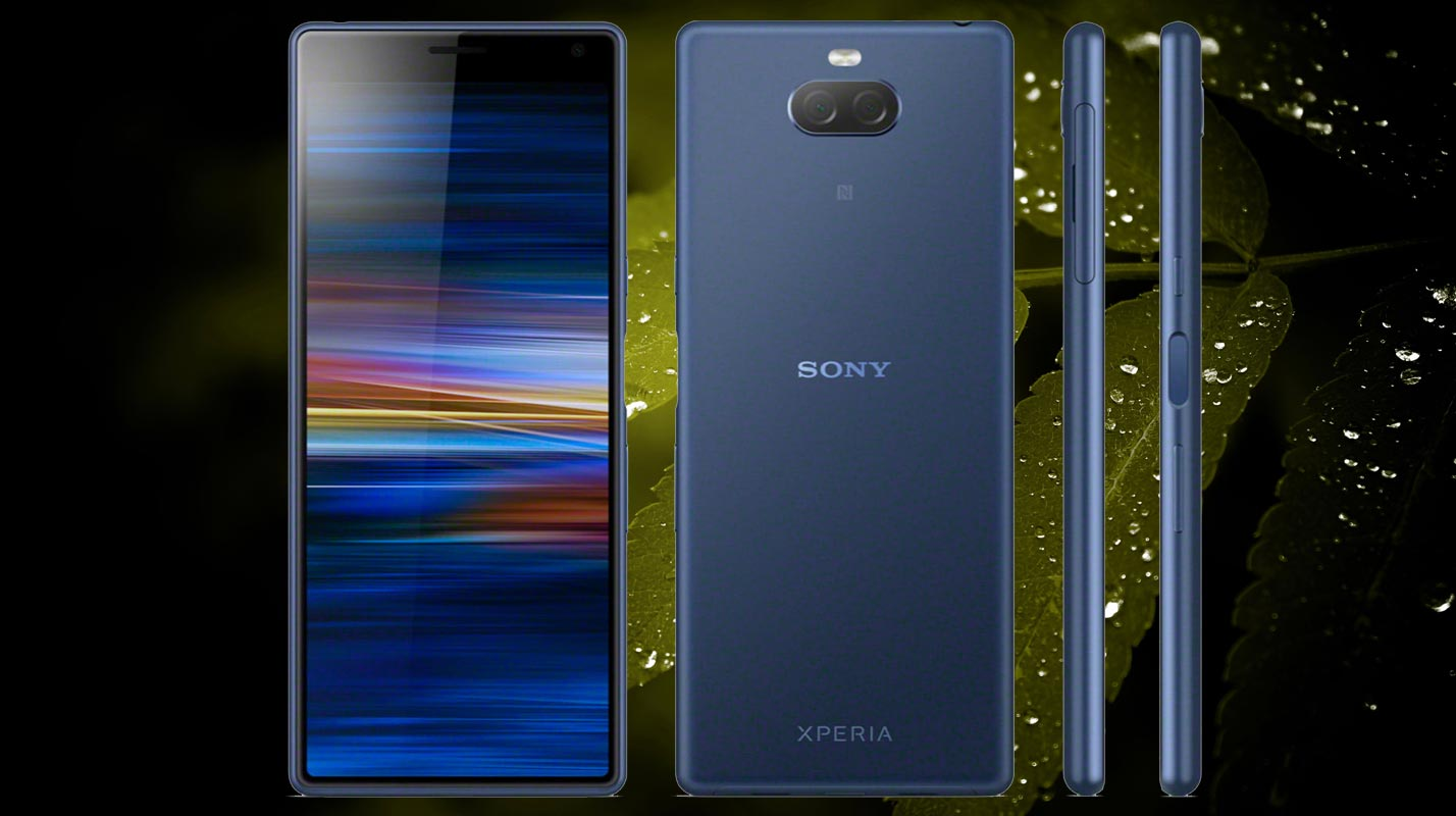 Sony Xperia 10 with Leaf and Dark Backgroound