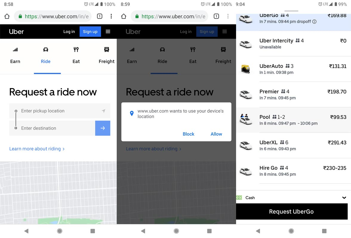 Uber Cab Booking in Browser