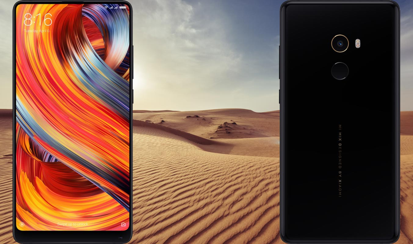 Xiaomi Mi Mix 2 with Desert Background