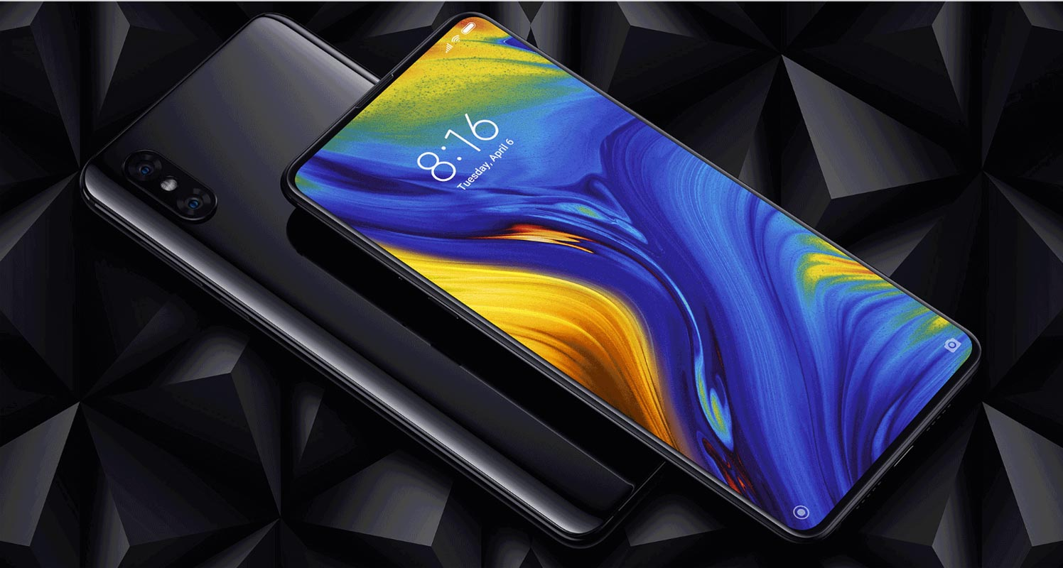 Xiaomi Mi Mix 3 with Black Crystal Background