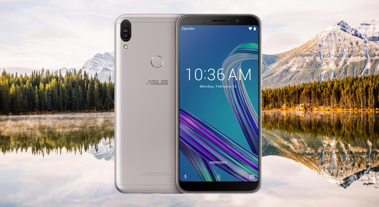Asus Zenfone Max Pro M1 with Mountain Background