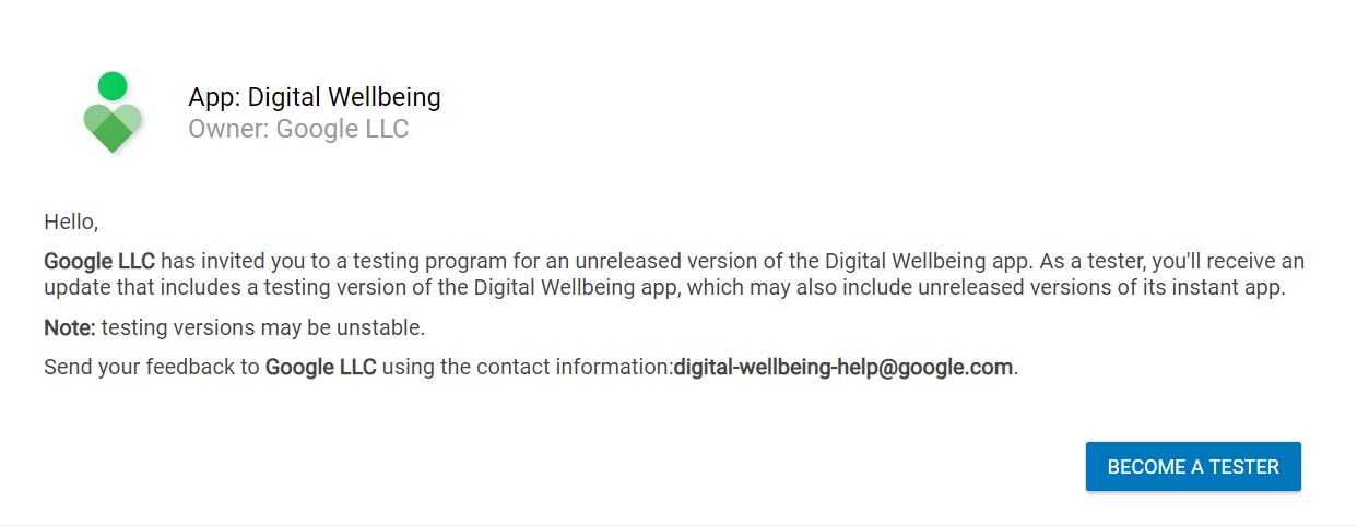 Digital Wellbeing Enroll as a Tester