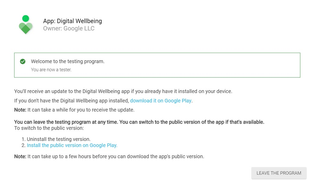 Digital Wellbeing Leave Beta Program