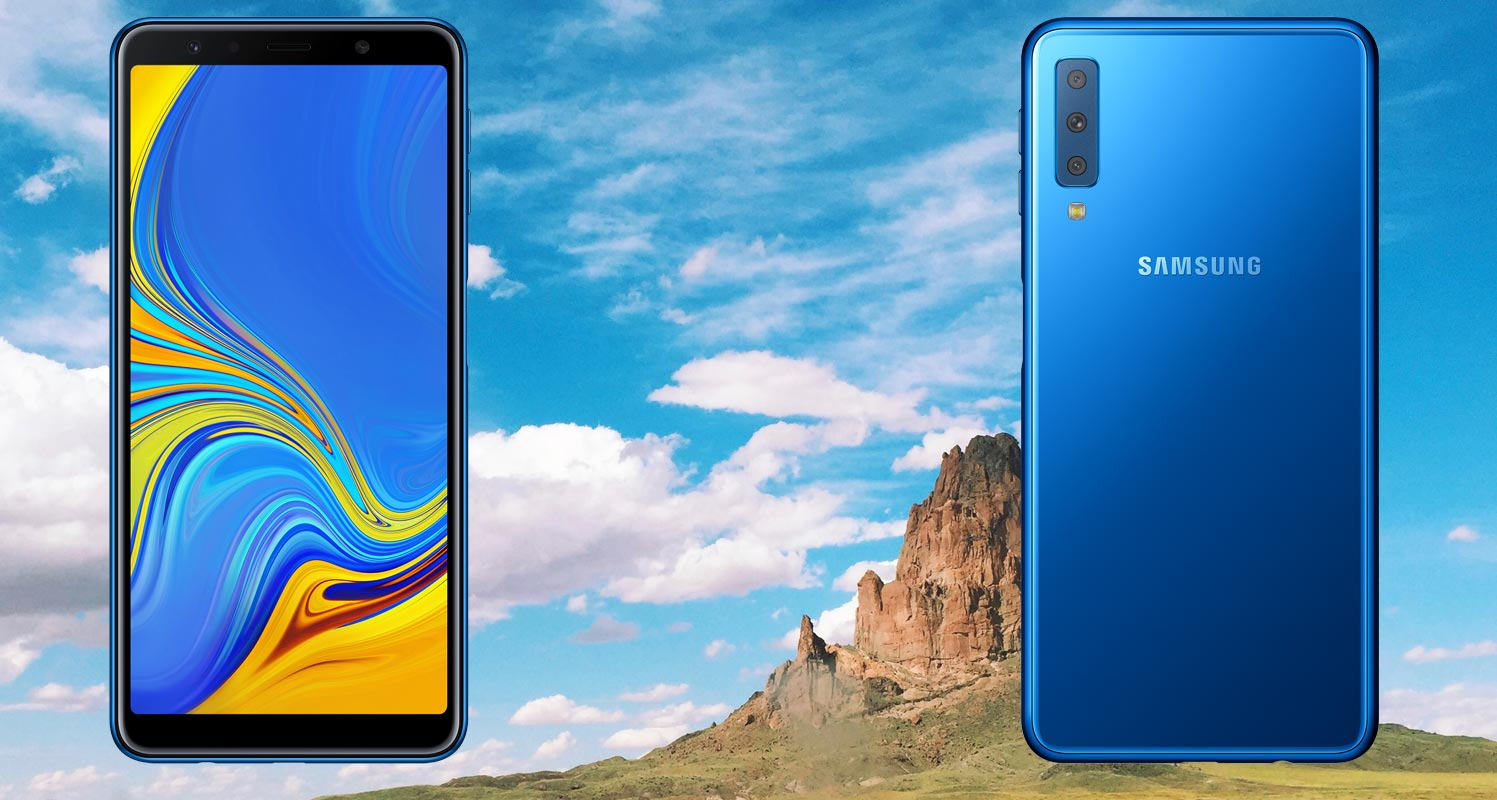 Samsung Galaxy A7 2018 with Blue Sky Background