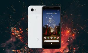 Google Pixel 3a with Fire Work Background
