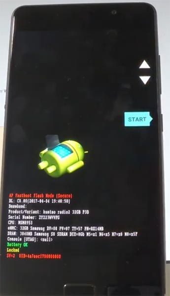 Lenovo P2 Fastboot Mode Warning Screen