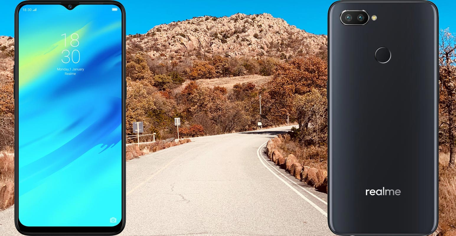 Realme 2 Pro with Country Road Side Background
