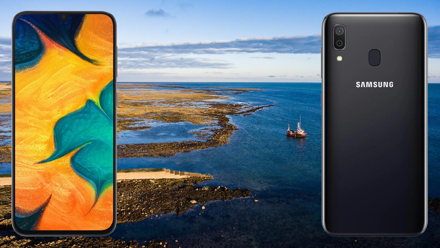 Samsung Galaxy A30 with Sea Harbour Side Background