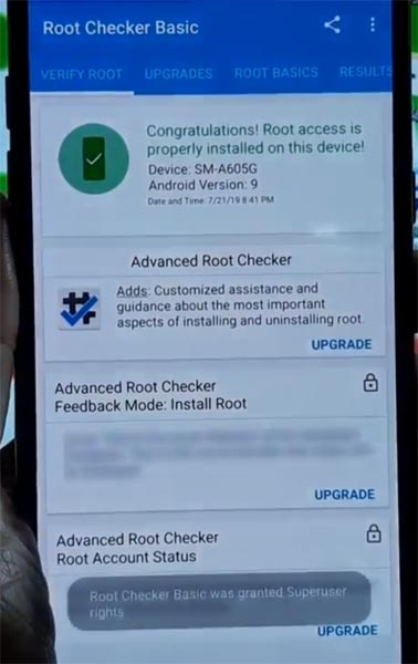 Samsung Galaxy A6 Plus 2018 Root Checker Status