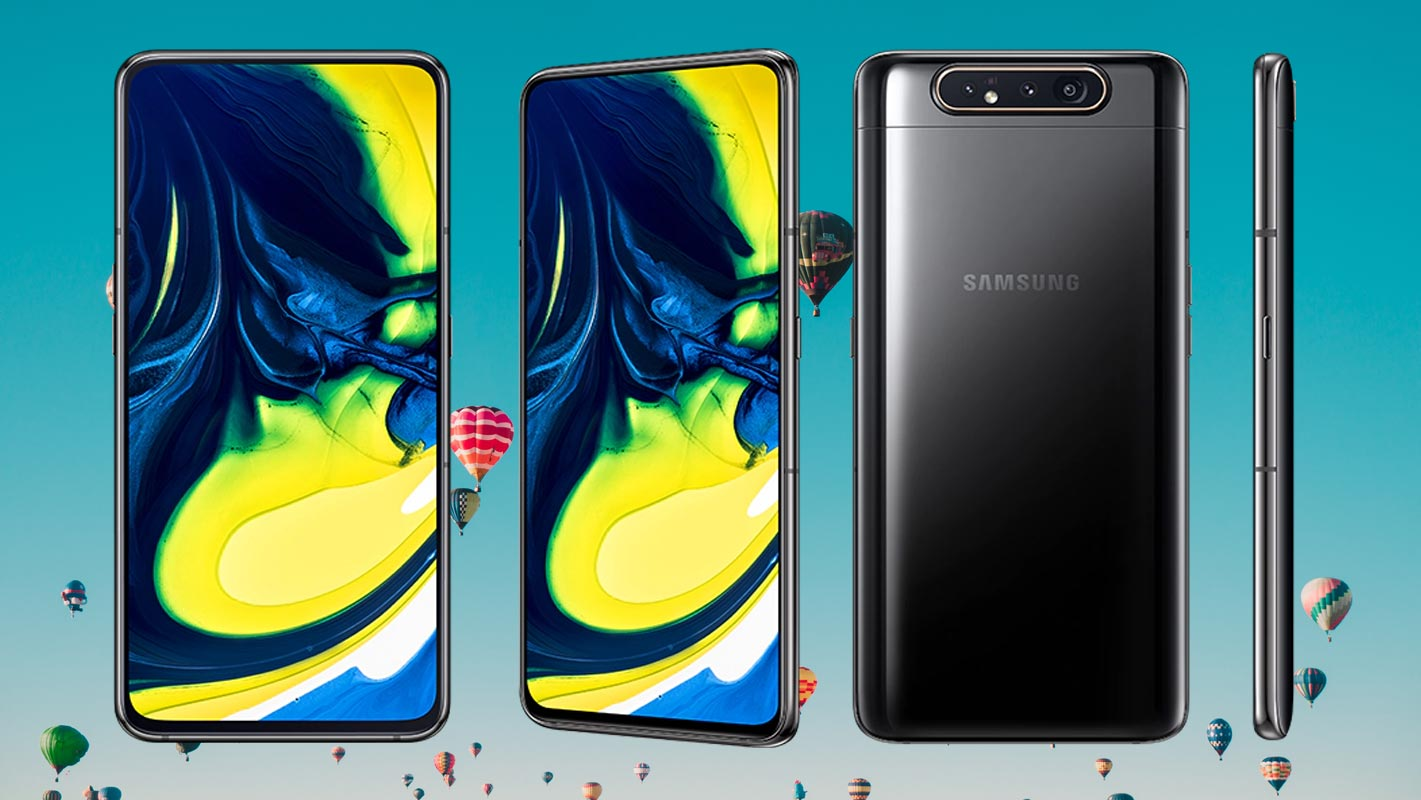 Samsung Galaxy A80 with Air Balloons Background