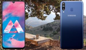 Samsung Galaxy M30 with Outdoor Mountain Background