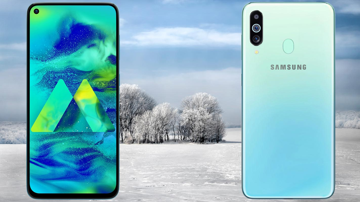 Samsung Galaxy M40 with Snow Land Background