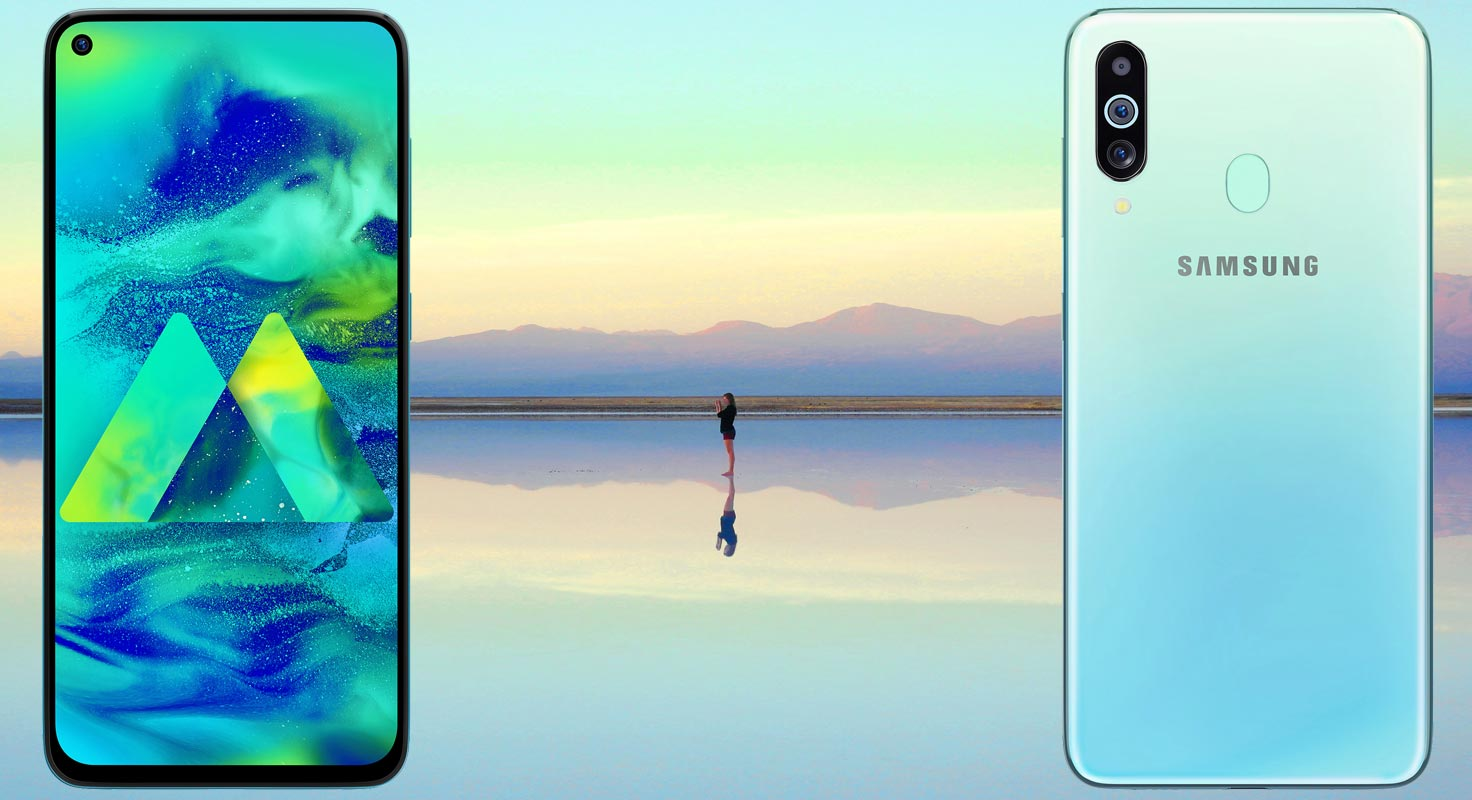 Samsung Galaxy M40 with Water Reflection Background
