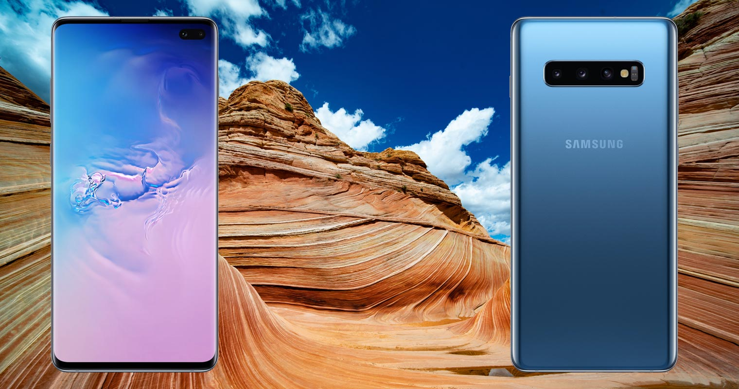Samsung Galaxy S10 Plus with Red Sand Mountain Background