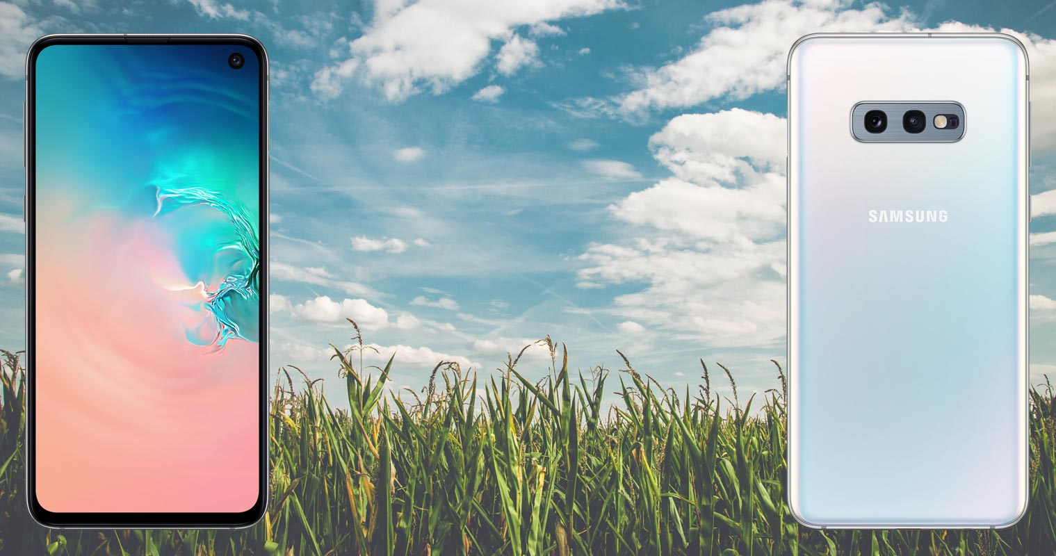 Samsung Galaxy S10e with Corn Farm Background