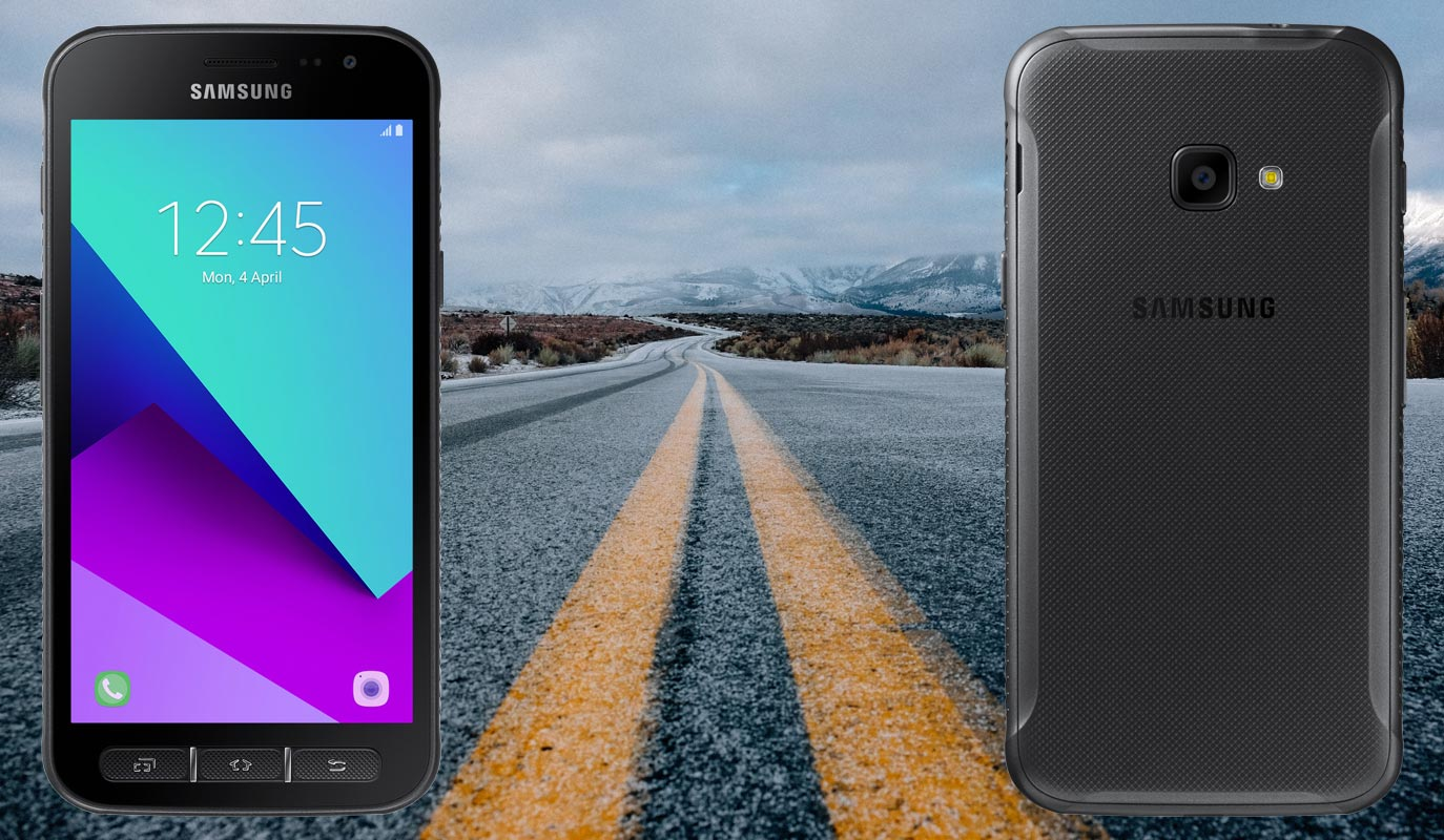 Samsung Galaxy Xcover 4 with Road Background