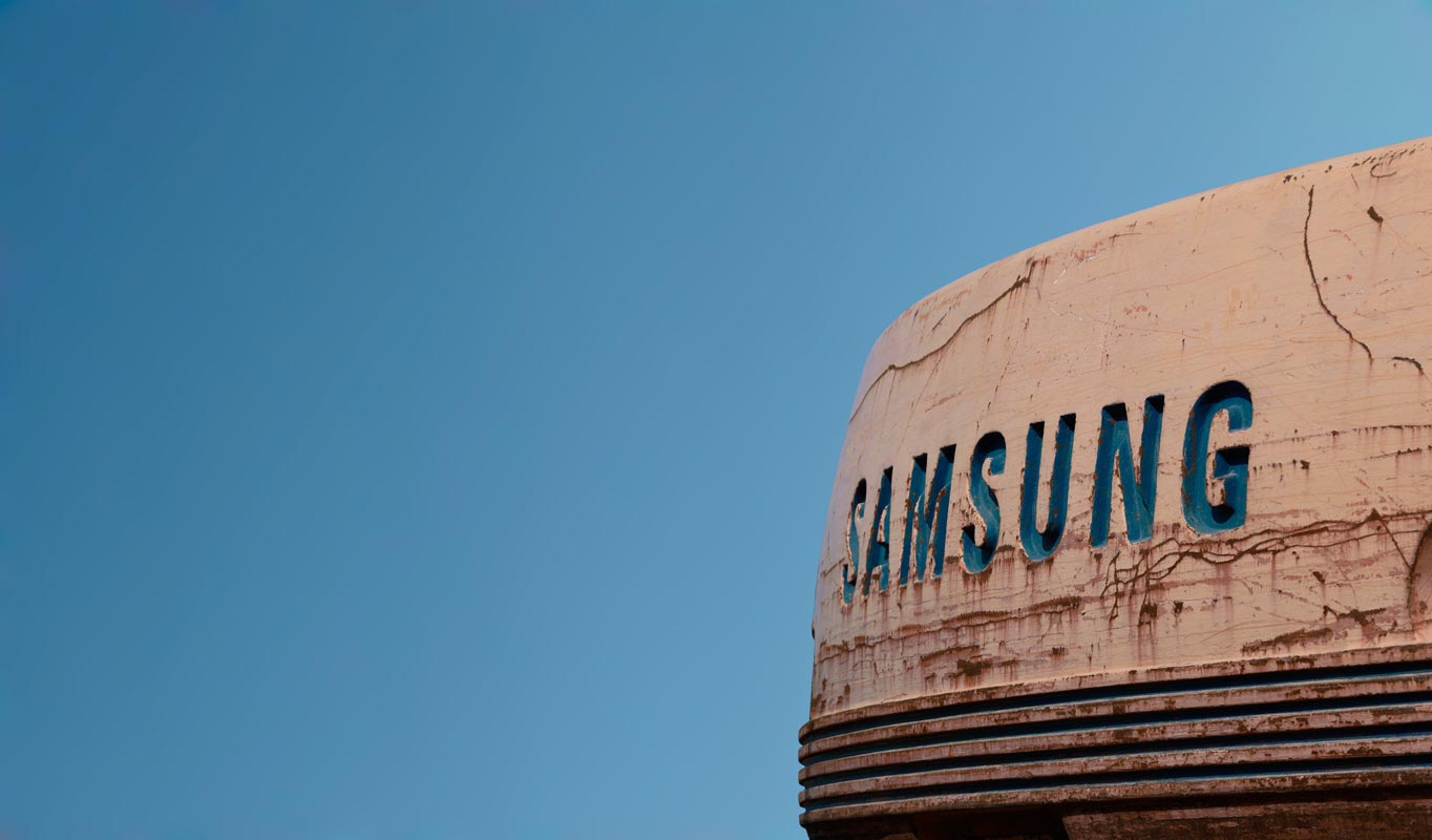 Samsung Logo in Rusted Tank