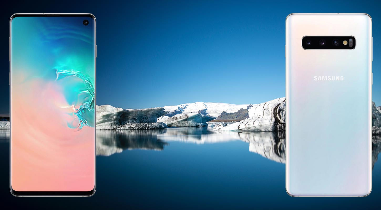 Samsung S10 with Ice Mountain Background